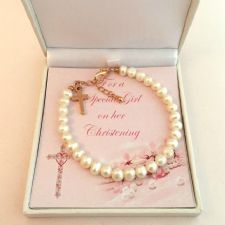 Christening Gift for Daughter Girls Christening Bracelet with Cross Niece etc
