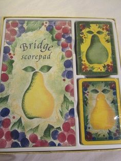 Bridge Playing Card Set 2 Decks Cards Scorepad Pears Creative Papers Canada  #CreativePapersbyCRGibson