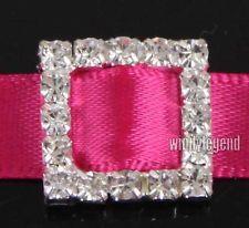 50 Pcs Square Rhinestone Buckle Invitation Ribbon Slider For Wedding Supplies $12.80