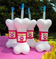 Fun drinks at a pet birthday party! See more party ideas at CatchMyParty.com!