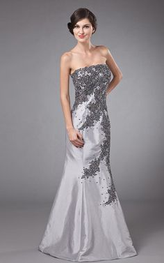 d97afd728440 Satin Strapless Floor Length Mermaid Mother Of The Bride Dress with  Embroidered Strapless Dress Formal