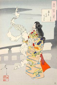『月のものくるひ 文ひろけ』1889年 豊臣秀吉の女中・おちよ。ある日受け取った手紙で恋人の死を知ります。おちよは悲しみのあまり気が触れてしまい、その手紙を身体に巻き付けたりしながら、死ぬまで城のまわりなどを徘徊したそうです。