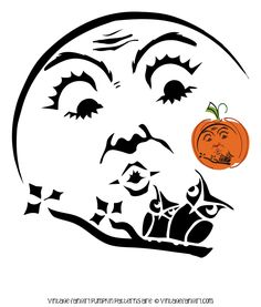 Beautiful Halloween Moon and Owls Pumpkin Stencil  @  Vintage Fangirl