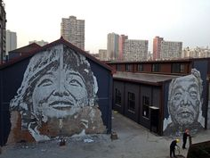 portraits chipped away from buildings...beautiful!