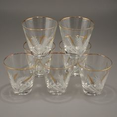 Set of 7 Mid Century Wheat 4 oz Whiskey Shot Glasses by charmings,