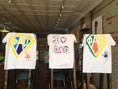 Great Father's Day gift idea! These T-shirts were created by kids ages 3-7 years old. A thoughtful and creative way to show Dad how much you care. T-shirts were made using silkscreen paint.
