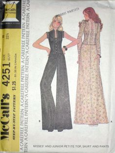 VTG McCalls Misses BOHO Hippie Top, Skirt, Pants Pattern 4251 UC s10