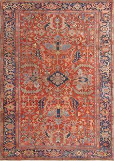 "KEIVAN WOVEN ARTS, Circa : 1900 Type : Serapi Origin : Iran Design : All Over Material : Wool Texture : Pile Size : 10'0""x13'10"""