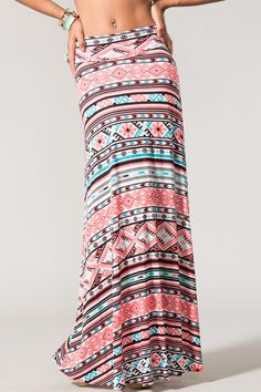 pink aztec maxi skirt