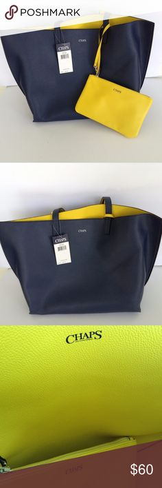 Chaps Reversible tote- Navy Blue & Bright Yellow Chaps Collection Purse.  Has 2 handle straps - This Bag is REVERSIBLE - Navy Blue on one side & Bright Yellow on the other side.  --  Main Section has no pockets just one big open section.   INCLUDES a matching Wallet Wristlet that is Bright Yellow, has a zipper pocket inside with brown fabric lining and zipper closure.  Wristlet strap is 6.5 inches and detachable from the strap. Nine West Bags Totes