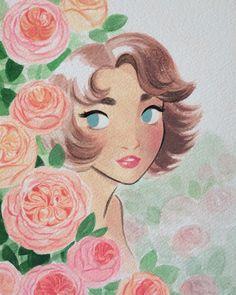 Sunmee Joh : 'G' is for garden rose #floweralphabet #gardenrose #gouache #painting »