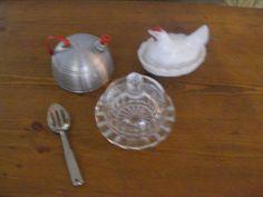 Vintage Child Tin Teapot Covered Glass Butter Dish Nesting Chicken Kitchen Set