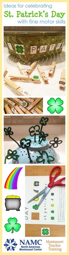 Fun and easy Montessori St. Patrick's Day activities for developing fine motor skills! Letter Matching and Lucky Clover Garden with a free printable PDF