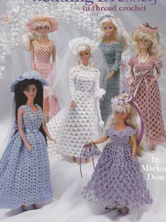 Fashion Doll Wedding Dresses in Thread Crochet Patterns - American School of Needlework 1108 - SewJewel - 1