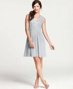 Silk Georgette Pleated Lace Tank Dress