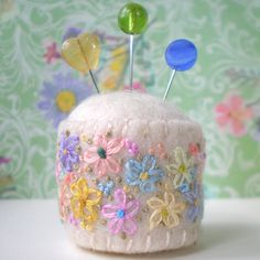 Pin cushion - embelished with embroidery
