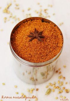 korma masala powder recipe or kurma masala This spice powder can be used for vegetable kurma, egg korma or chicken korma curry recipes .Very flavorful and different from the regular garam masala powders. Korma or kurma is a yogurt and or coconut based s Homemade Spices, Homemade Seasonings, Masala Spice, Garam Masala, Korma Curry Recipes, Kurma Recipe, Korma Masala Recipe, Comida India, Spicy Gravy
