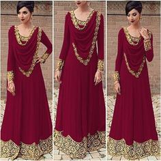 2019 Europe And The United States Foreign Trade Explosion Models Women's Lace Stitching Saudi Wind Long-sleeved Dress MI Indian Fashion Dresses, Indian Gowns Dresses, Dress Indian Style, Indian Designer Outfits, Pakistani Dresses, Indian Outfits, Designer Dresses, Anarkali Dress, Cheap Maxi Dresses