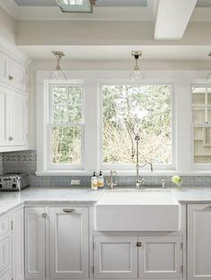 Franke sink and honed carerra marble countertops
