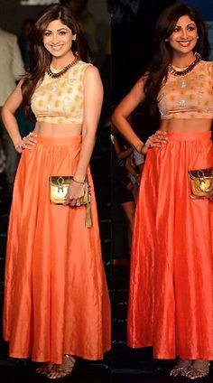 Orange Shilpa Shetty Replica Indowestern 049