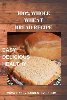 You can't imagine how easy this healthy, whole wheat bread recipe is. So simple to mix in your bread machine and bake in the oven. No white flour in this recipe - 100% whole wheat. #HOMEMADEBREADRECIPES #HOMEMADEBREAD