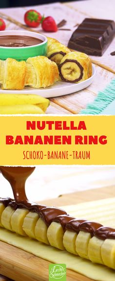 Nutella banana ring flies onto the plate with double chocolate thickening. - Nutella banana ring flies onto the plate with double chocolate thickening. Dessert Oreo, Banana Dessert Recipes, Easy Smoothie Recipes, Cake Recipes, Nutella Snacks, Nutella Cupcakes, French Pastries, Quick Snacks, Finger Foods