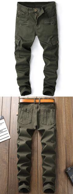 Zipper Fly Panel Design Pockets Cargo Jeans