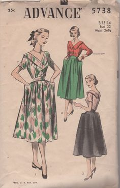 Advance 5738  1950s Misses V Neck Blouse and Full skirt vintage sewing pattern by mbchills