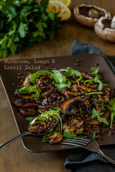 Mushroom Lemon and Lentil Salad Recipe #vegetarian