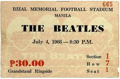 """The Beatles Ticket - BBC Boracay says: """" The Beatles in the Philippines Live - Wow..."""""""