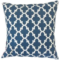 Two toned color in navy blue and white, this decor pillow features an intricate geometric pattern. Adorn your sofa, bed or seat with this toss pillow as a statement piece. The perfect solution to update your indoor space, pair this throw pillow with solids and other patterns. Click to Buy #bluepillow #patternedpillow