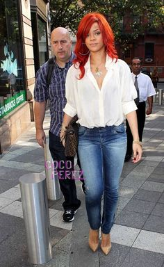 Rihanna in jeans and crisp white