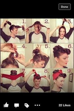 Vintage Hairstyles For Prom These beautiful long hair pinups are the answer to your hair styling endeavors. - These beautiful long hair pinups are the answer to your hair styling endeavors. Easy Vintage Hairstyles, 1950s Hairstyles, Bandana Hairstyles, Retro Hairstyles, Halloween Hairstyles, Braided Hairstyles, Hairdos, Wedding Hairstyles, Retro Updo