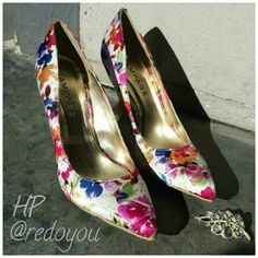 """HPRampage Floral Heels Cream background with gorgeous floral desigh. Satin fabric with 4"""" heel. Perfect condition. Rampage Shoes Heels"""