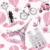París símbolos de patrones sin fisuras. viajes románticos en París. Vector — Vector de stock #50138019