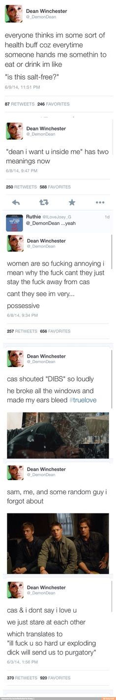 Hahha that last one!!! A+ for the dick joke. But also GUYS WHAT IF DEAN RELEASES ADAM FROM THE PIT?? He's a knight of hell now he could totally bring him back!!!!:O