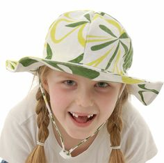 30168f3d grow-with-me sun hat, in green flower perfect fit with adjustable head  strap keep it on with chin strap. Twinklebelle Design
