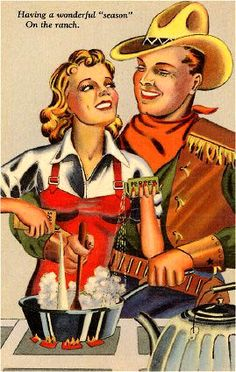 Sexy Cowgirl & Cowboy Cooking Curt Teich Dude Ranch Comic C-1019 Linen Postcard