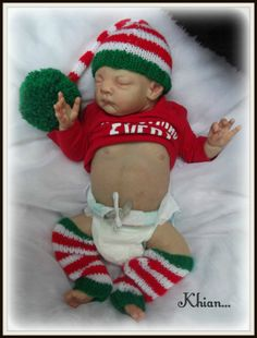 "♥ Khian ~ Tina Kewy~sold out~Tummy plate~Xmas baby~19""~Reborn baby boy doll ♥"