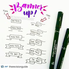 Ok so you have to follow @therevisionguide immediately. Yes im being bossy. Right now she is posting simple #instructions to #drawing #banners. There's also all sorts of #handwriting practice and my favorite: #icons and #symbols. Everything is really clear and super simple. Seriously. Why are you still reading this? You should be checking out @therevisionguide ・・・ How to draw banners... #TheRevisionGuide_HowTo add these to your notes and your notes would instantly become more interesting :)…