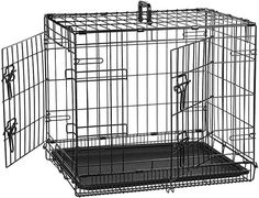 AmazonBasics Double-Door Folding Metal Dog Crate, Black, 24-inch: Amazon.co.uk: Pet Supplies Single Doors, Double Doors, Large Dogs, Small Dogs, Double Door Design, Crate Cover, Online Pet Store, Pet Supply Stores, Dogs