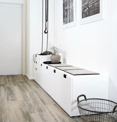 Hallway table ikea decoration thin way furniture with table Hallway Inspiration, Interior Inspiration, Hallway Ideas, Style At Home, Nordli Ikea, Ikea Hallway, Hallway Furniture, Hallway Bench, Entry Bench