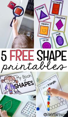 Shape Printables Teaching shapes through various activities such as geoboards and shape hunts!Teaching shapes through various activities such as geoboards and shape hunts! Preschool Printables, Preschool Classroom, Preschool Learning, Kindergarten Math, Preschool Activities, Preschool Shapes, Center Ideas For Kindergarten, Preschool Curriculum, Homeschooling