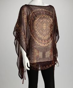 Gold and Plum Sheer Medallion Cape-Sleeve Tunic
