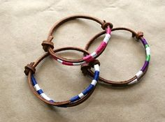 Thread Wrapped Adjustable Leather Bracelet Tutorial ~ The Beading Gem's Journal