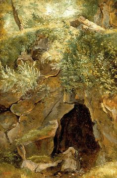 "Théodore Rousseau: ""The Cave"",  1828-30, Oil on paper mounted on canvas, Dimensions: 14 1/2 x 9 3/4 in. (36.8 x 24.8 cm), current location:	 Los Angeles County Art Museum."