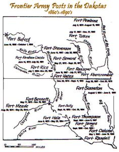 Dakota territory Fort Maps, 1860s -- 1890s