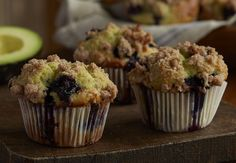 "Avocado Blueberry Muffins  With California Avocado replacing half the butter normally used, these muffins have reduced calories, fat, sodium and cholesterol with increased ""good fats""."