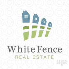 Logo for sale: Clean and modern design that combines a picket fence and houses. The fence is designed to look like a row of houses/homes.