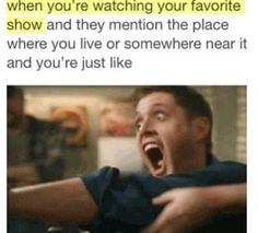 Funny pictures about When mentioned in a show. Oh, and cool pics about When mentioned in a show. Also, When mentioned in a show. Sam Dean, Supernatural Fandom, Supernatural Quotes, Supernatural Bloopers, Supernatural Convention, Sam Winchester, Destiel, Funny Quotes, Funny Memes